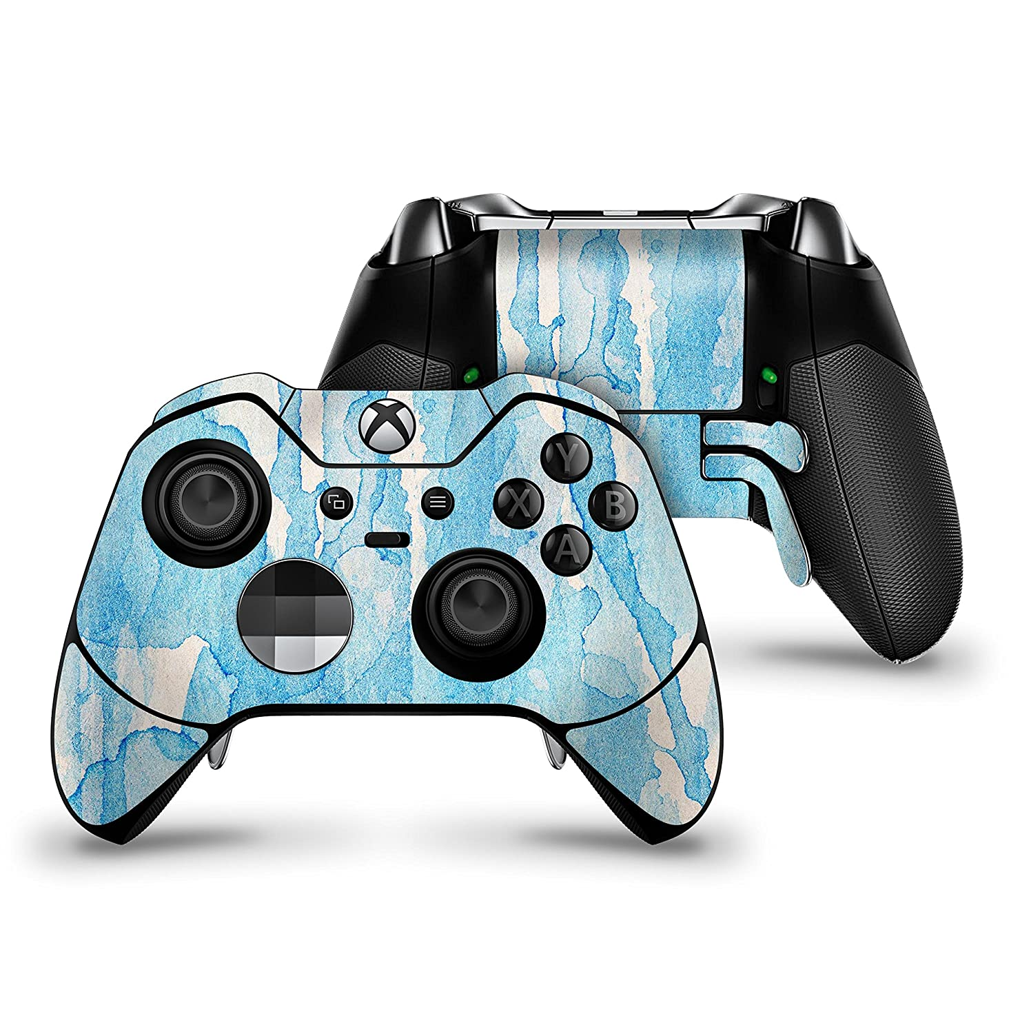 Blue Watercolor Drizzle - Protective Vinyl DesignSkinz Decal Sticker Skin-Kit for the Microsoft Xbox ONE Elite Controller