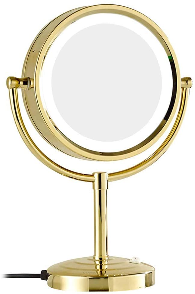 Mirror LED 8.5 Inch Tabletop Makeup Double-Sided with 3x/5x/7x/10x Magnification Countertop Vanity, LED Lighted Make-up for Makeup, Shaving, Home,Gold,10x