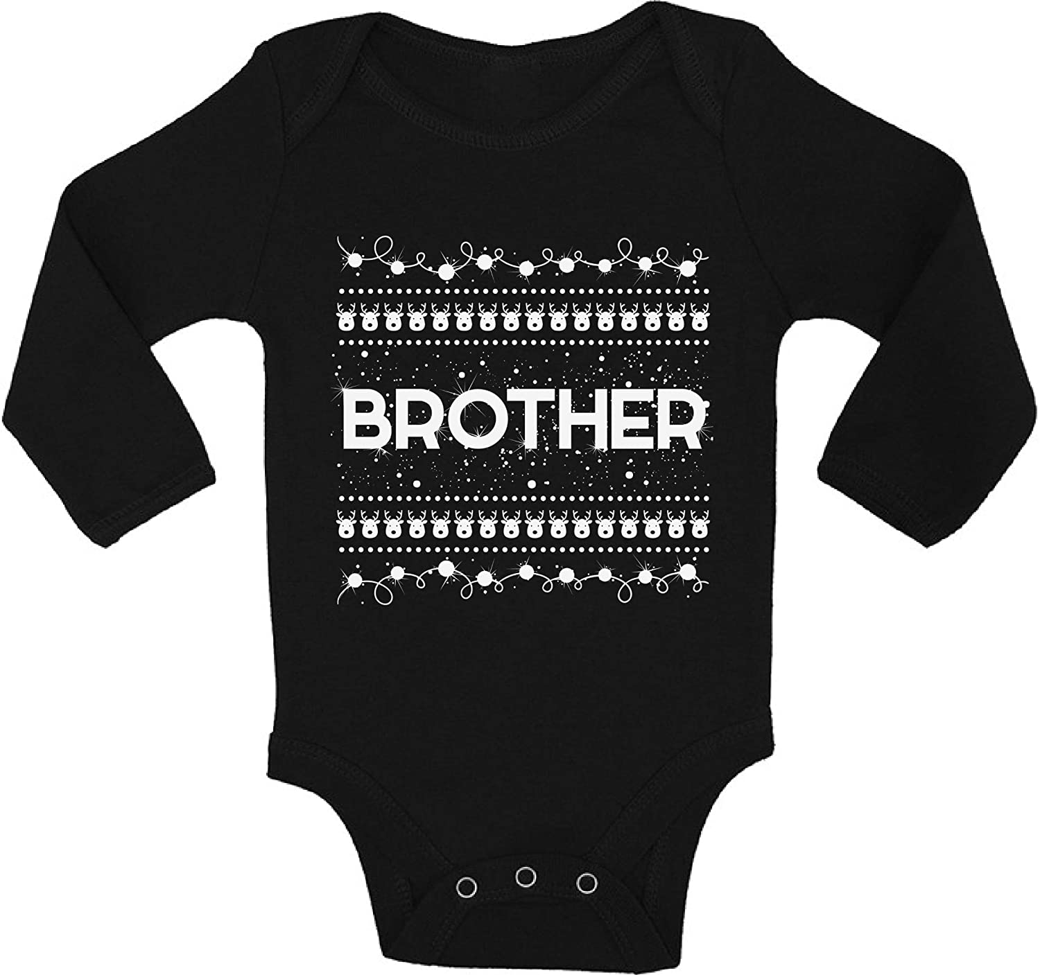 Awkward Styles Ugly Christmas Baby Outfit Bodysuit Brother Xmas Pattern Baby Romper