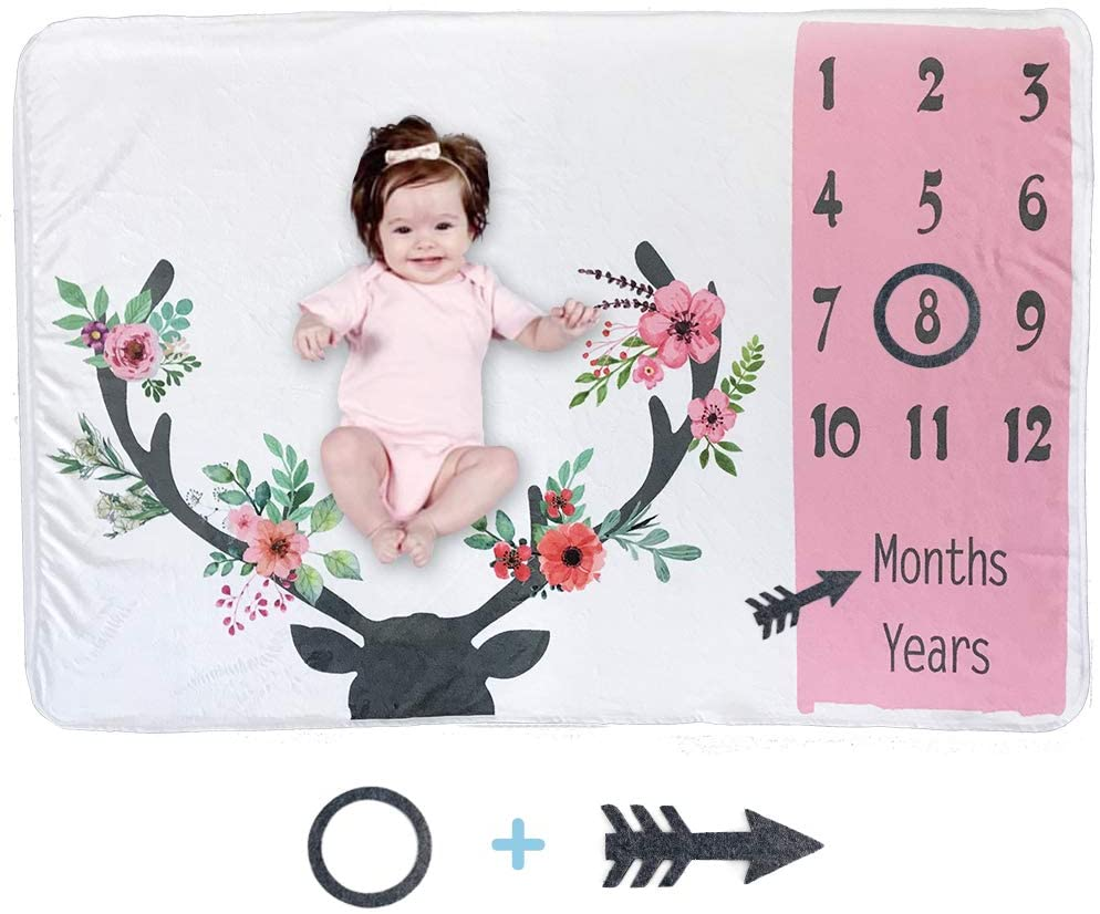Owlowla Baby Milestone Blanket Flannel Baby Swaddle for Boys&Gilrs Photography Background Growing Infants&Toddlers(Deer Girl)
