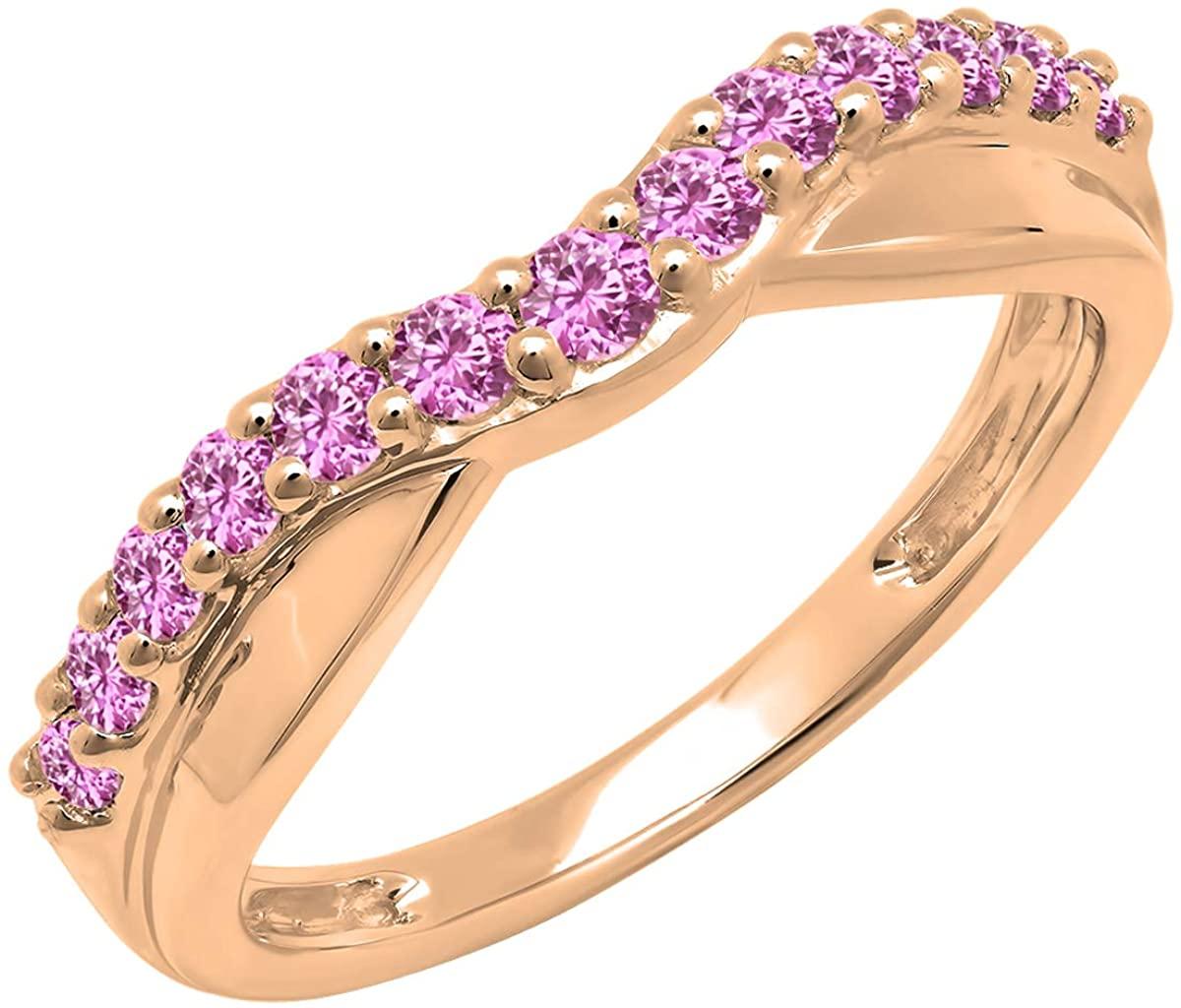 Dazzlingrock Collection Round Pink Sapphire Ladies Anniversary Wedding Guard Contour Band, 10K Gold