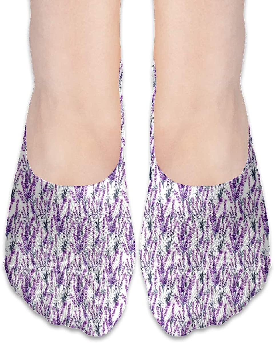 Purple Lavender Pattern Women Casual No-Show Socks Of Hidden Flat Boat Line,Low Cut Thin Sock