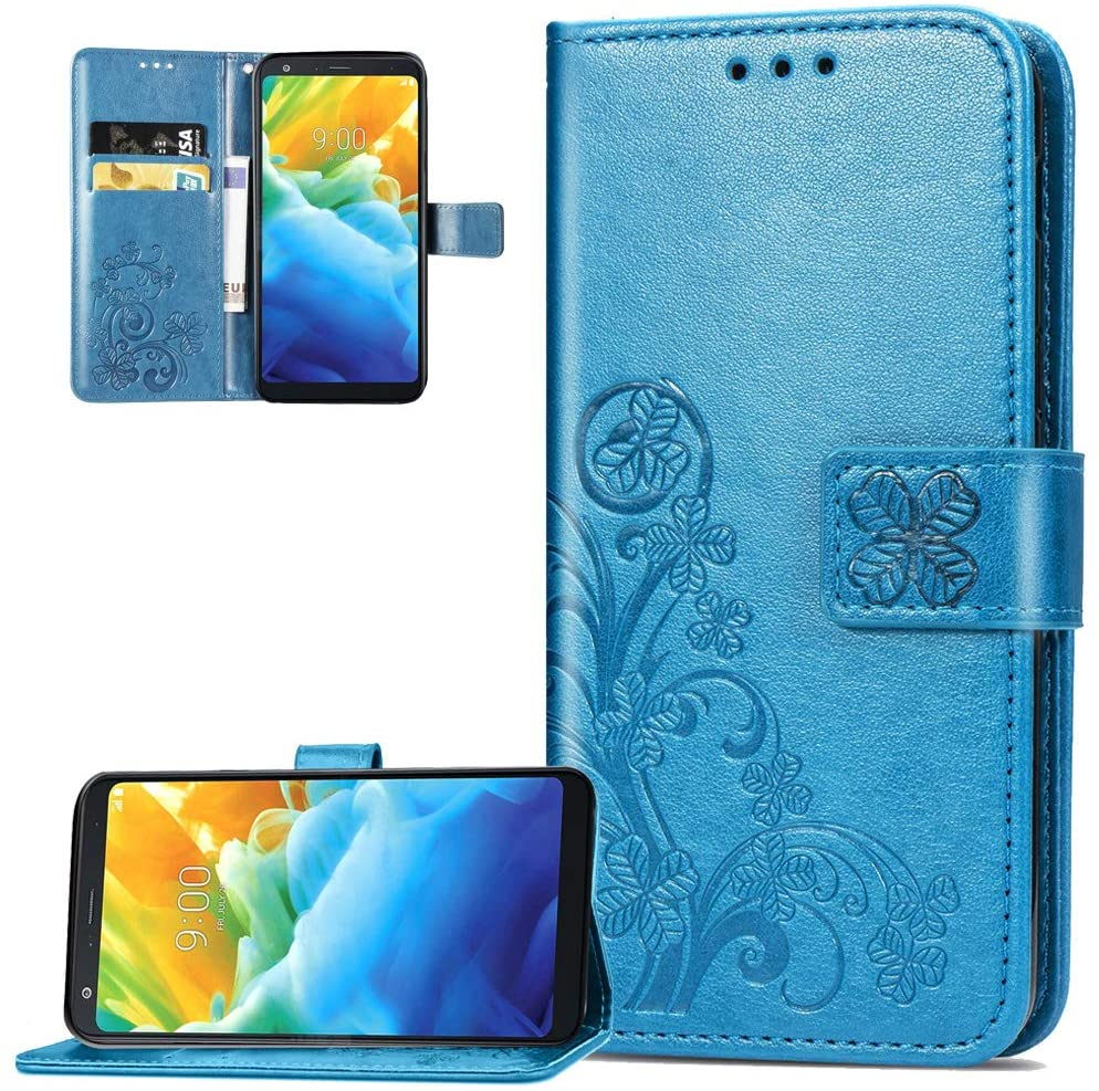 ISADENSER Moto G7 Play Wallet Case Lucky Design with Magnetic Closure Credit Card Slot Holder [Kickstand] Flip Folio Embossed PU Leather Wallet Cover Case for Motorola Moto G7 Play Clover Blue SD