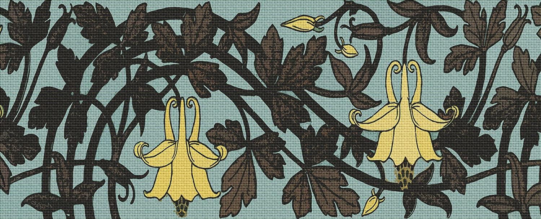 Art Needlepoint Flowers on Vine Bolster Pillow Needlepoint Canvas