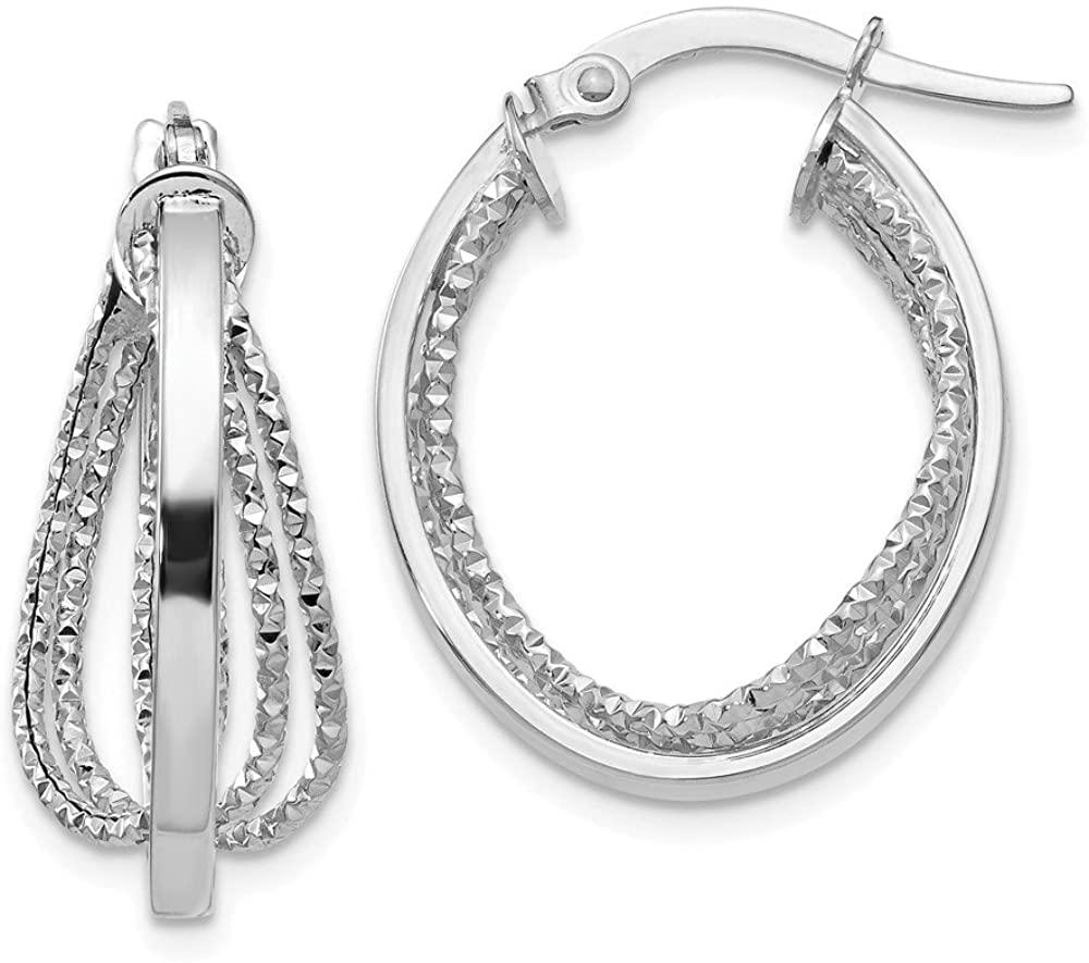 Leslies 14K White Gold Polished Twist Hoop Earrings LE314