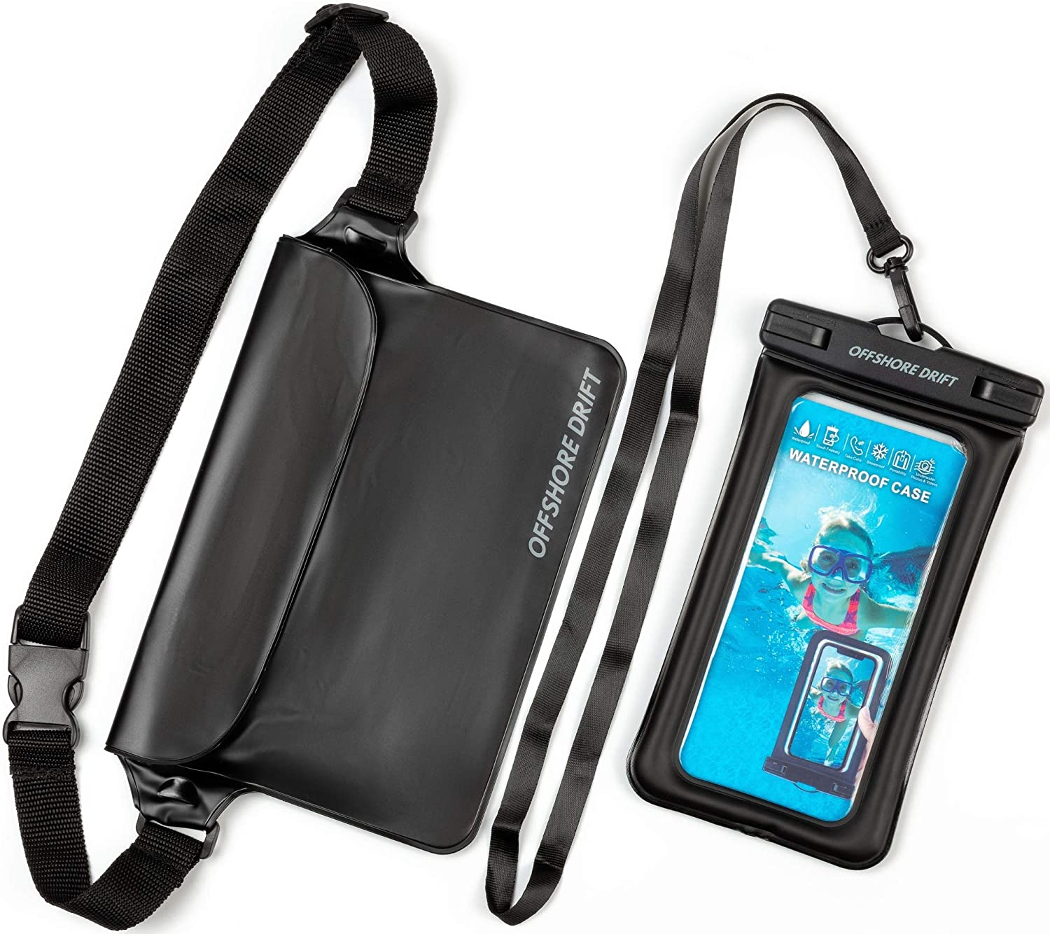 Offshore Drift 2PC Waterproof Phone Pouch Case and Waterproof Waist Dry Bag - Touch Screen Compatible - Black- Perfect for The Pool, Beach, Snow, Travelling, Swimming, Snorkelling and More