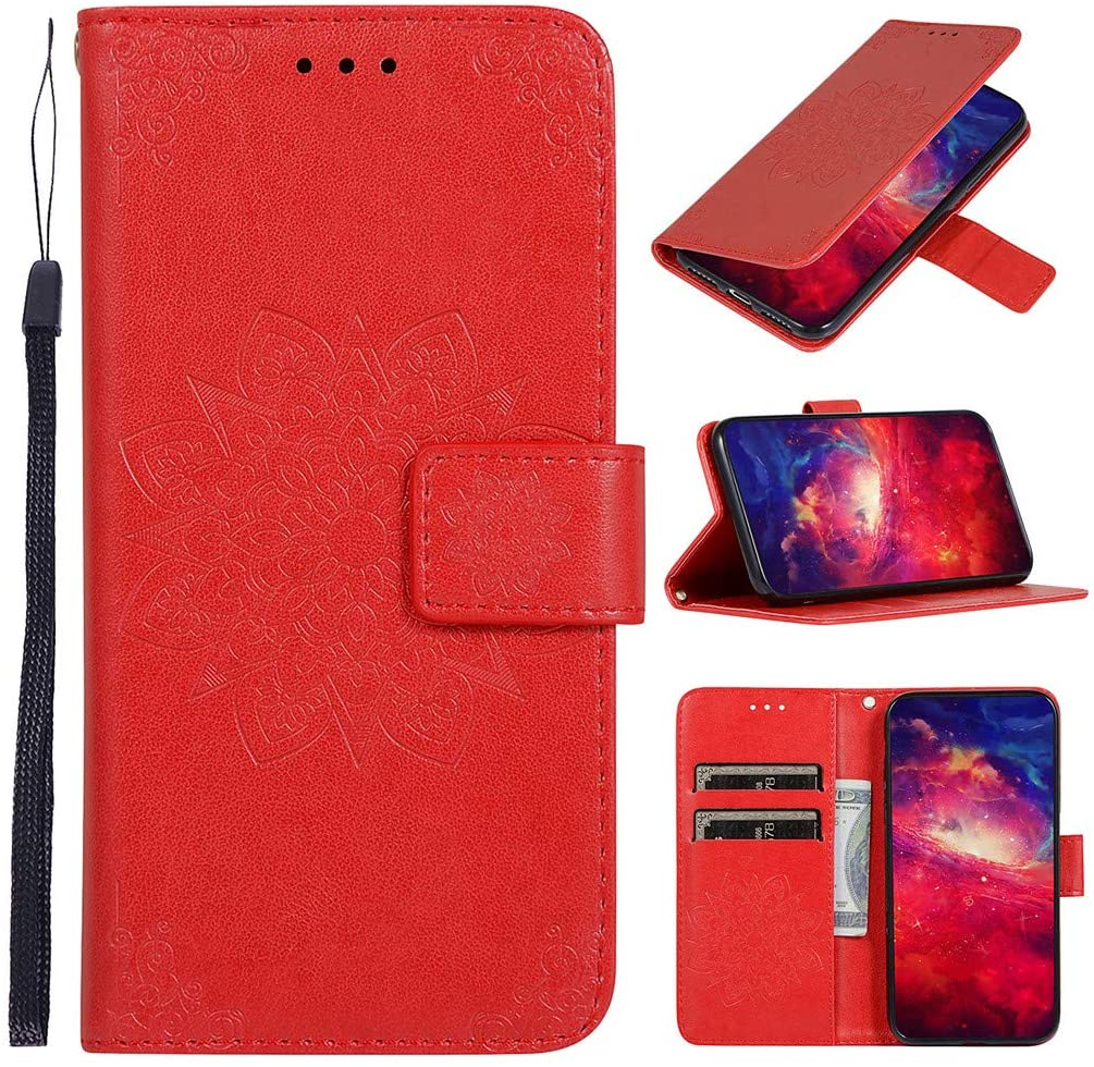MEUPZZK iPhone XR Wallet Case, Embossed Flower Premium PU Leather [Folio Flip] [Kickstand] [Card Slots] [Wrist Strap] [6.1 inch] Cover for iPhone XR (W-Red)