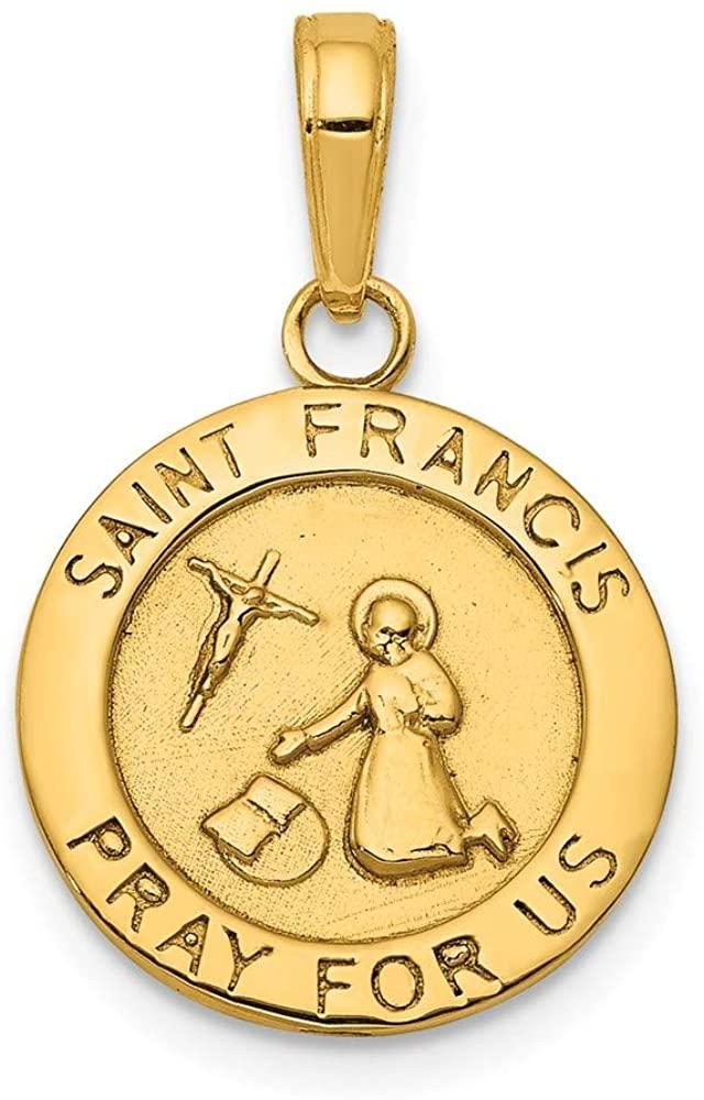Solid 14k Yellow Gold Finish Catholic Patron Saint Francis Medal Brushed Matte Finish Pendant Charm