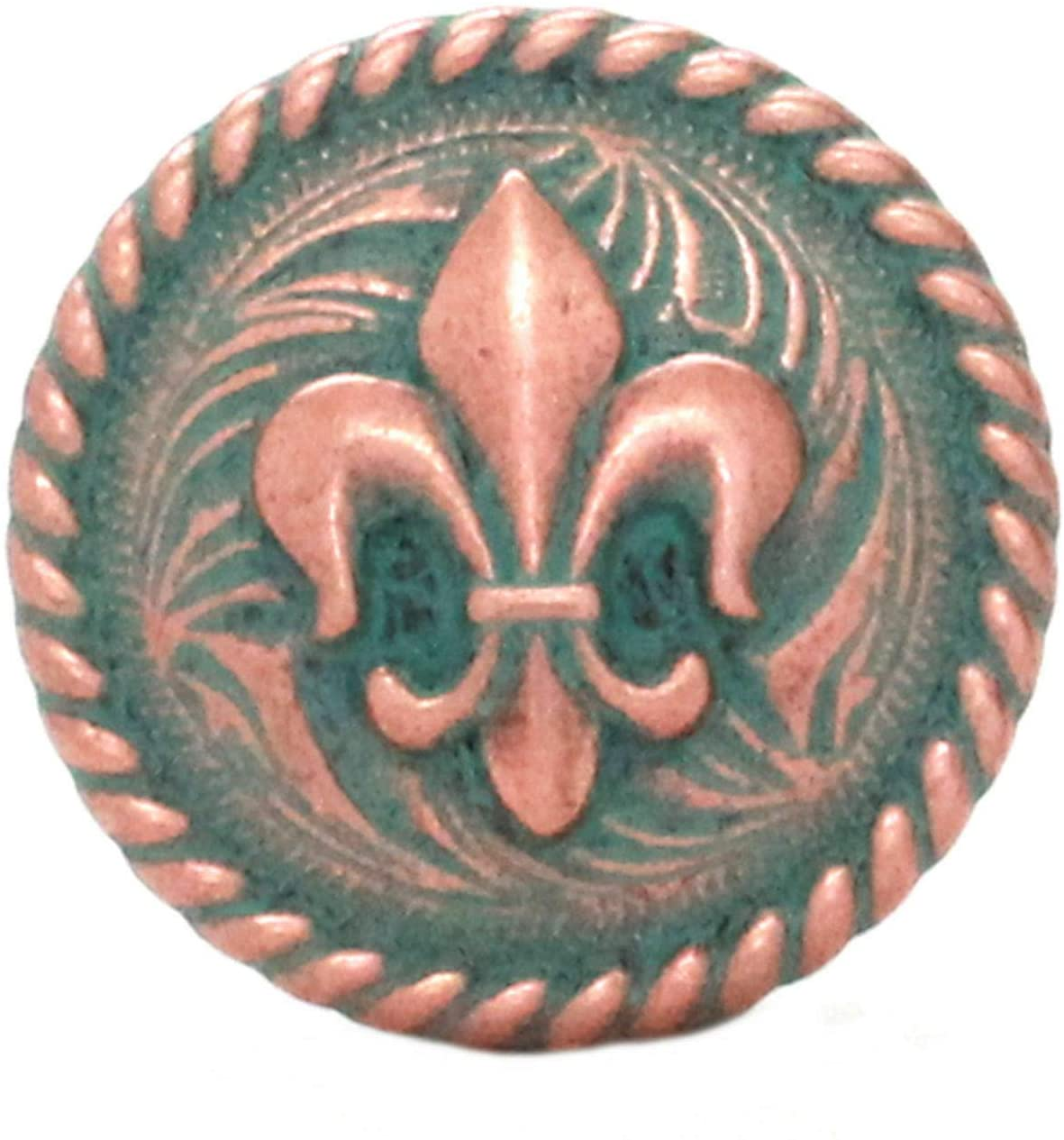 ShopForAllYou Leathercraft Accessories Fleur de Lis Rope Edge Copper Patina Concho Screw Back 1-1/4 7754-90