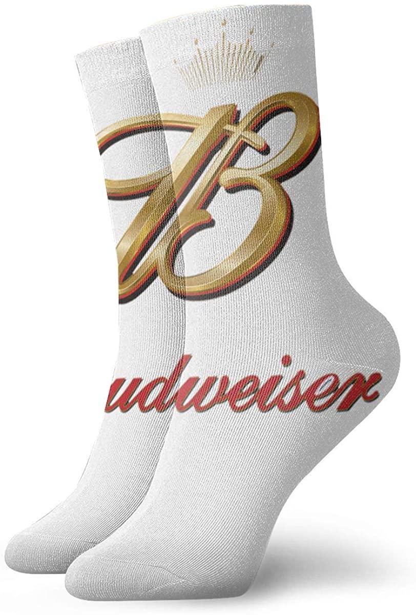 Unisex Budweiser Beer Athletic Stockings Crew Socks Sports Outdoor For Men Women