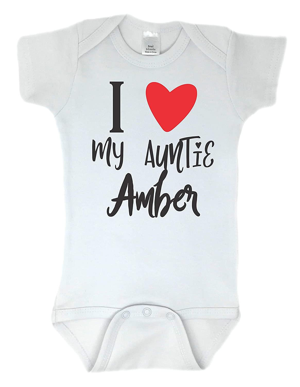 I Heart My Auntie Personalized Custom Name Baby Bodysuit, Perfect Baby Shower Gift, White (6-12 Months (Medium), White - Short Sleeve)