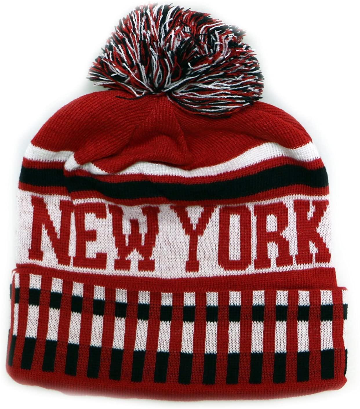 City Hunter Sk1120 New York Vertical Pattern Pom Pom Beanie Hat - Red/black