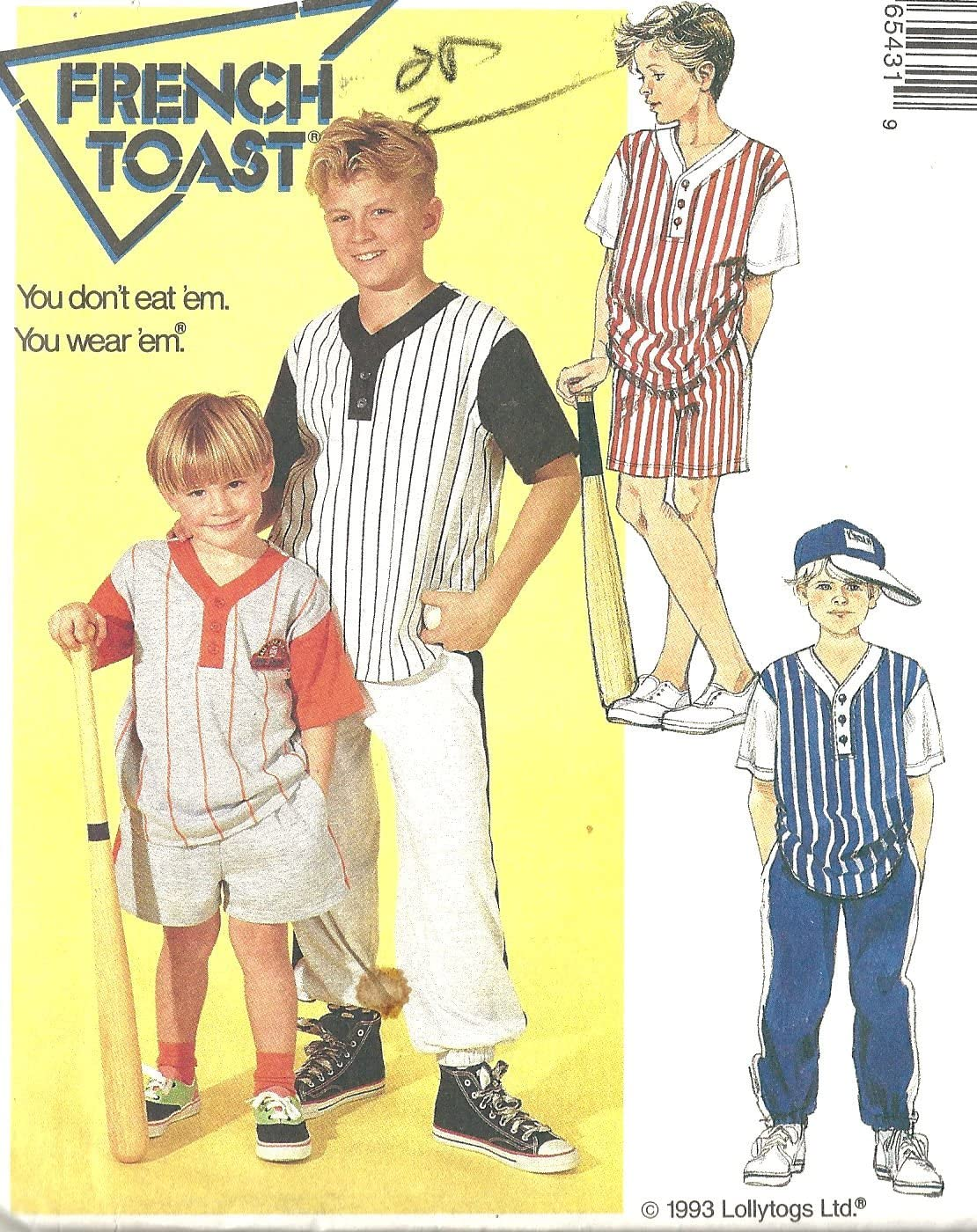McCalls sewing pattern 6543 French Toast baseball separates - Child size 2-3-4 - boys - play clothes - casual - knit