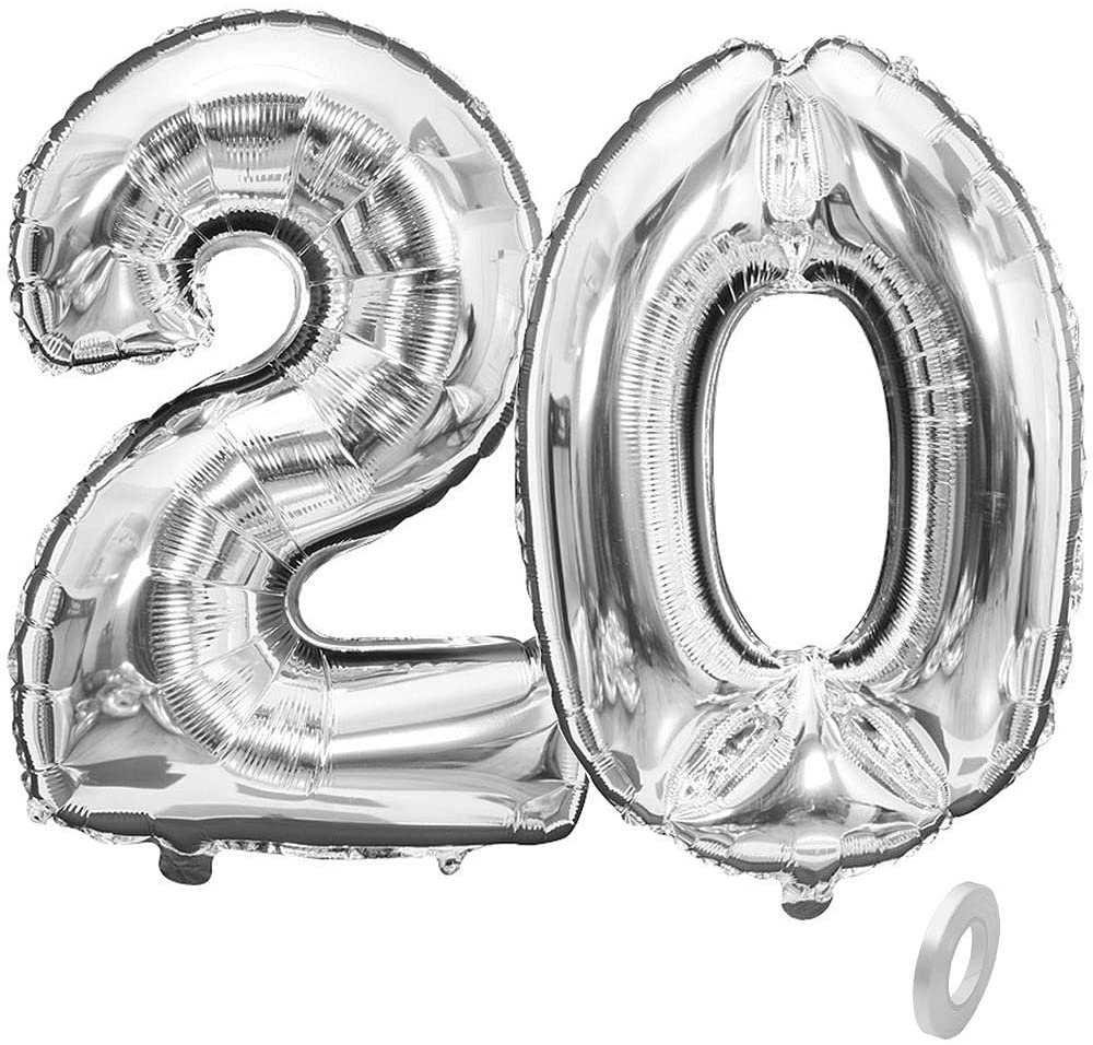 BoomYou Large Foil Mylar Balloons 40 Inch Silver Number 20 Balloons Giant Jumbo Birthday Balloons for Birthday Party Decorations – Silver #20
