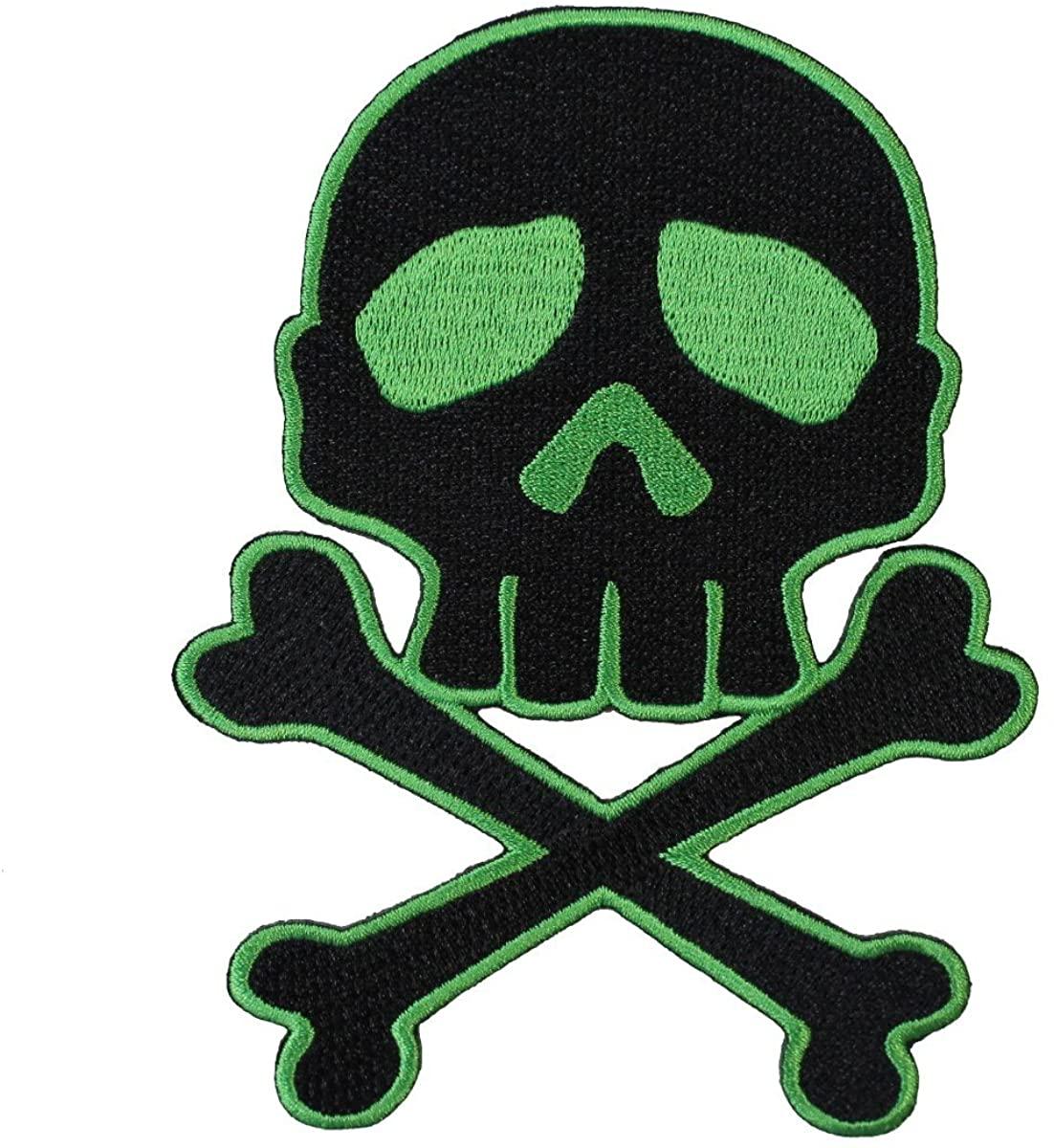 Kreepsville Skull & Crossbones Green on Black Patch Apparel Iron-On Applique