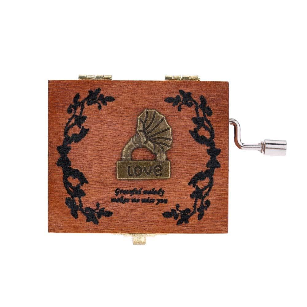 WHTBB Pure Hand-Classical Music Box Hand-Wooden Music Box Creative Wooden Crafts Musical Box Hand Crank Music Box