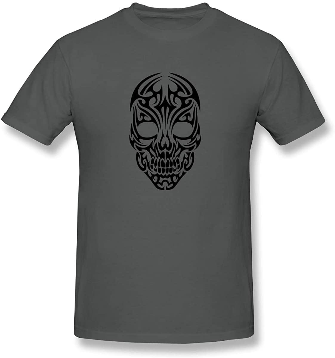 XIVEIER New Tribal Skull Tattoo Mexican Style T-Shirt for Boyfriend Deep Heather M.