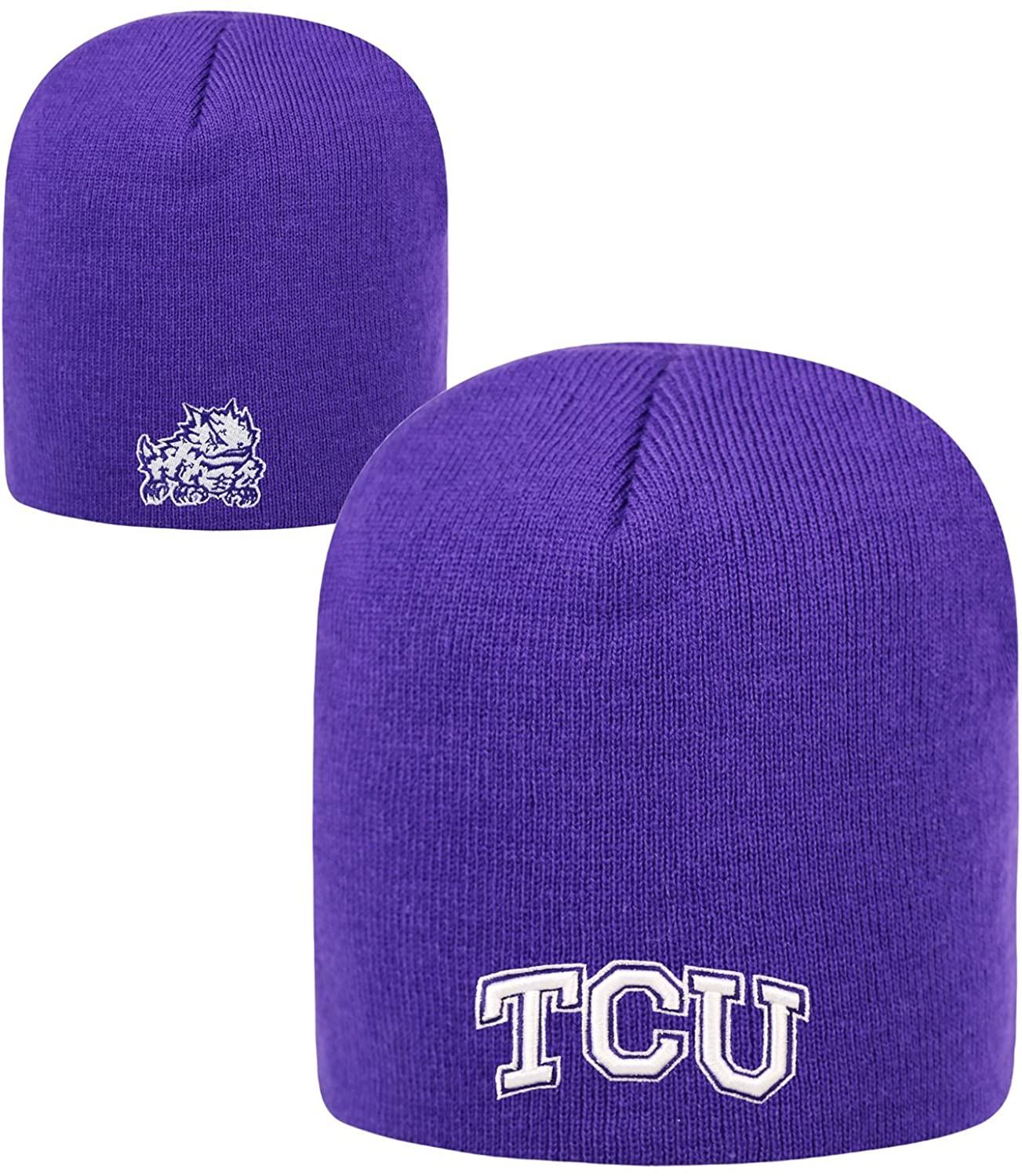 Top of the World TCU Horned Frogs Purple Cuffless 2-Sided Beanie Hat - NCAA Knit Skull Cap