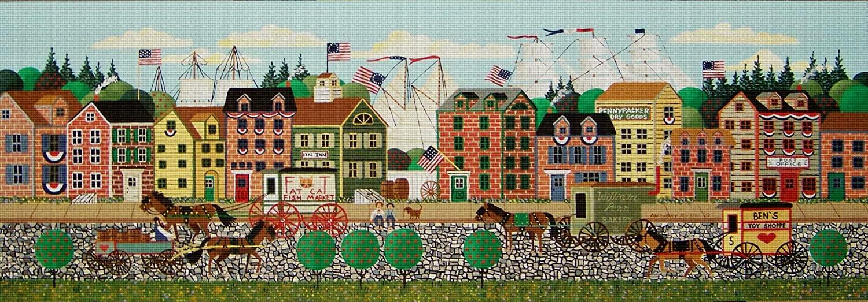 Art Needlepoint Olde Philadelphia Classic Landscape Needlepoint Canvas by Anthony Kleem