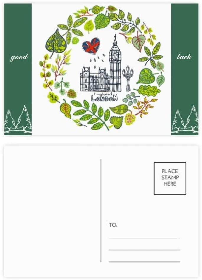 Big Ben London England Illustration Good Luck Postcard Set Card Mailing Side 20pcs