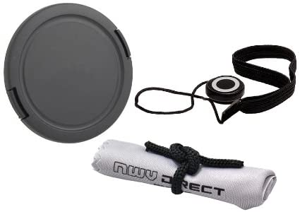 Lens Cap Side Pinch (62mm) + Lens Cap Holder + Nw Direct Microfiber Cleaning Cloth for Pentax K-S2