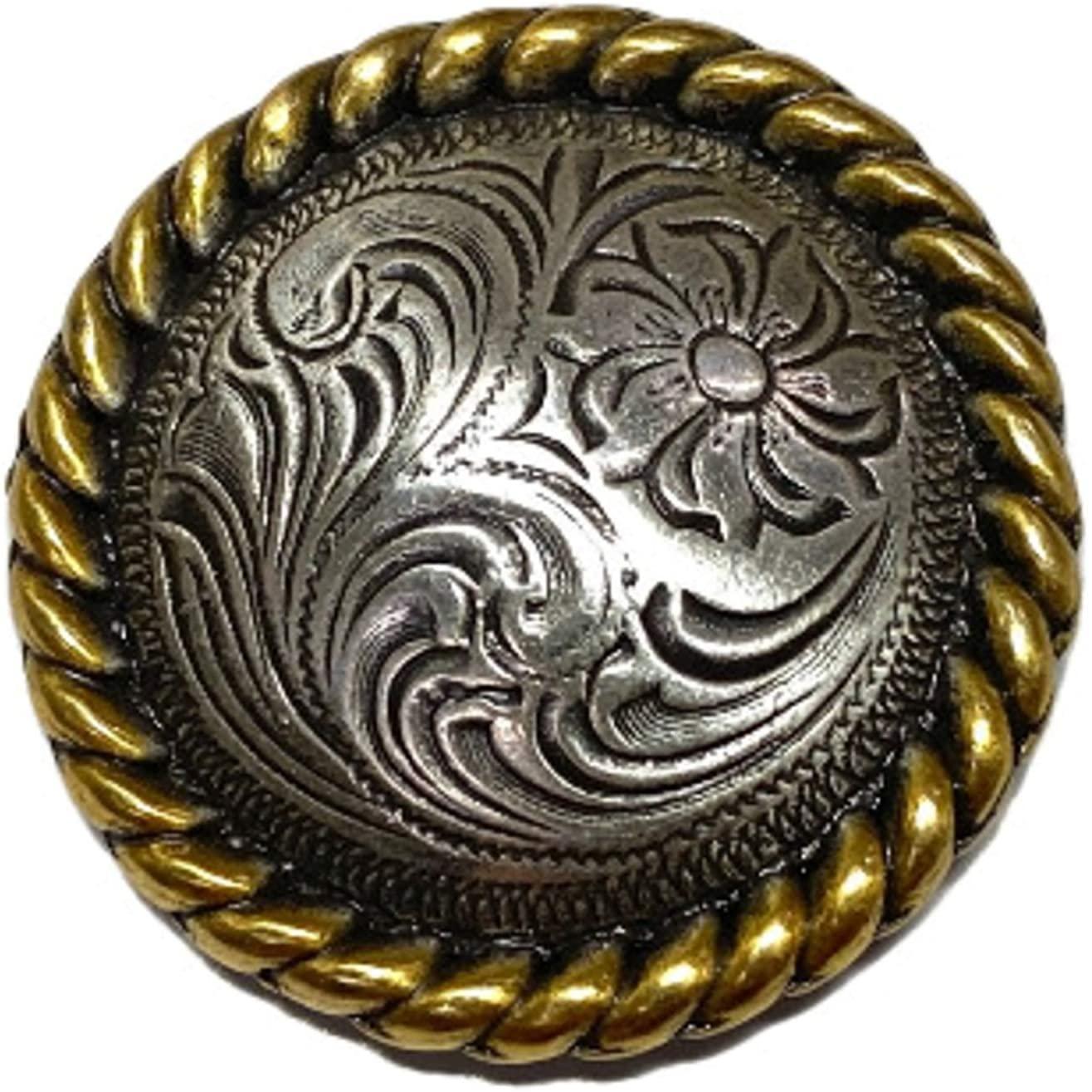 TJ Brotherhood Western Engraved Saddle Gold Concho