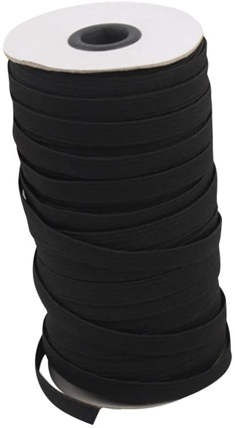 Adeliber Knit Elastic with high Elasticity and high Elasticity for Sewing DIY Crafts, Bed Covers, Cuffs(Black,3MMx50M)