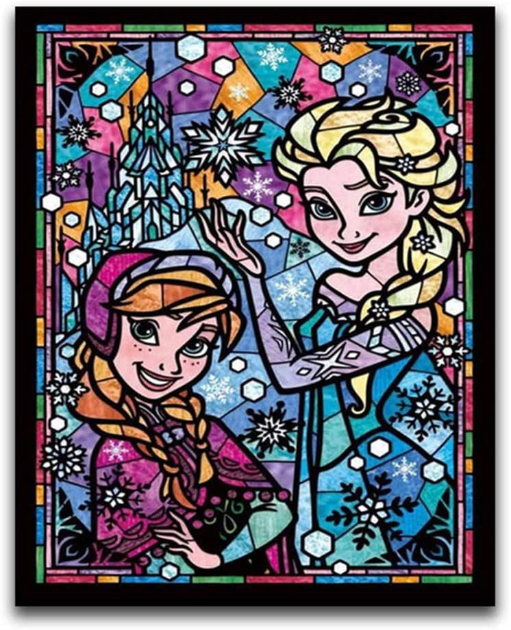 DIY 5D Diamond Painting by Number Kit for Adult, Frozen Anna Elsa Princess Girl Colorful Full Square Drill Rhinestone Crystal Embroidery Drawing Gift, 12