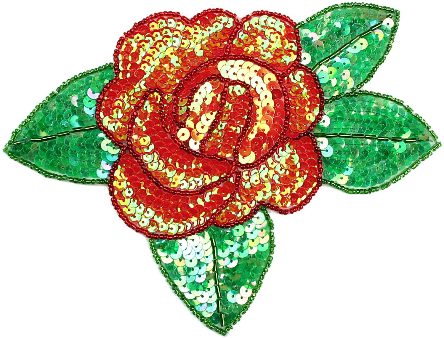Altotux 7.5x5.5 Red Pink Purple Orange Yellow Rose Beaded Sequins Sew on Patch Applique By Piece (Red)