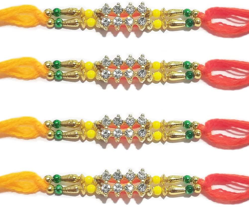 IndiaBigShop Rakhi for Brothers 8 Stone Studded in Rectangle Design Rakhi with Multi Design Beads Rakhi Bracelet Multi Design and Assorted Color - Set of 4