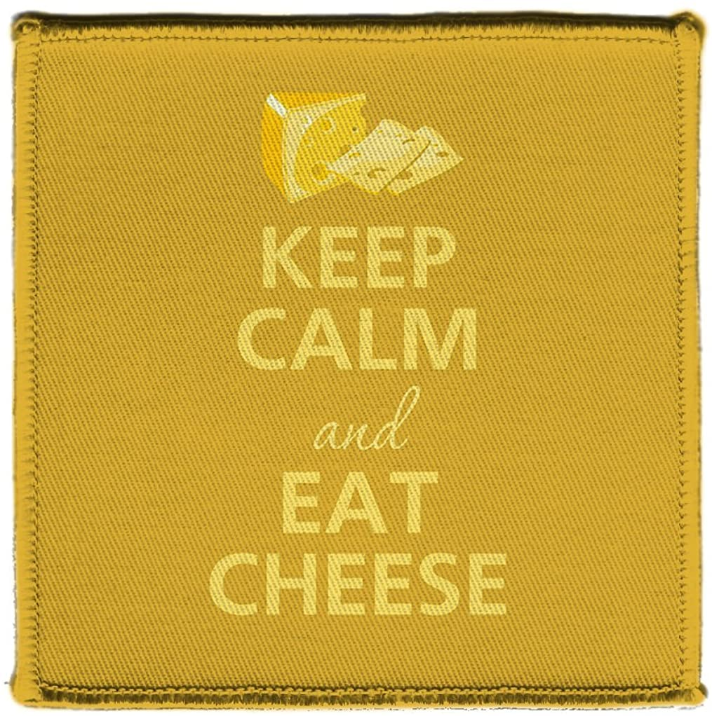 Keep Calm AND EAT CHEESE CHEDDAR BLOCK SLICE - Iron on 4x4 inch Embroidered Edge Patch Applique