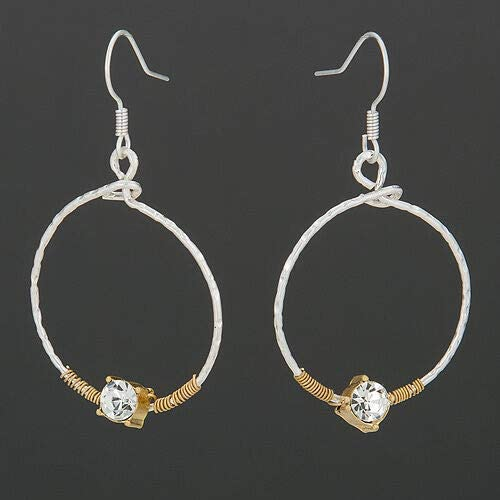 Earrings - Jewelry - for Women - Elegant - Simple Silver Hoop Style Clear Stone Bohemian Design