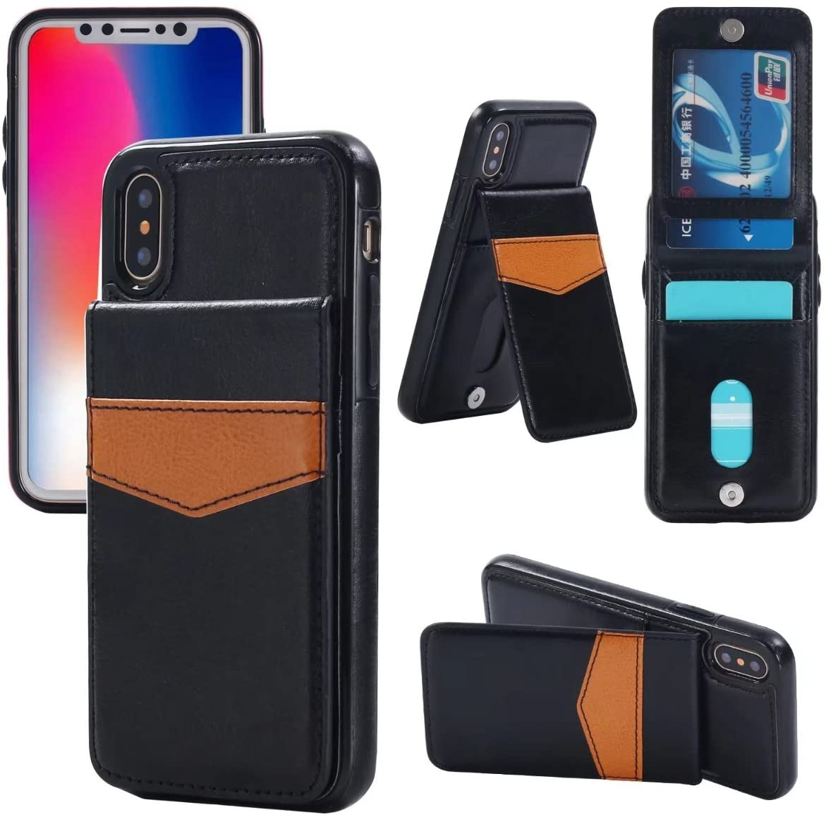iPhone X Card Holder Case, iPhone Xs Card Holder Case, Small Knife Premium Leather Wallet iPhone X Case Flip Magnetic Shock-Absorbing Protective Case for iPhone X/Xs (Luxury Black)