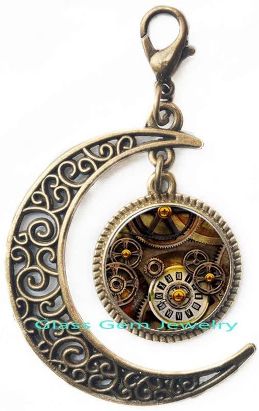 Fashion Glass Cabochon Bronze Chain Steampunk Mechanical Gear Lobster Clasp Zipper Pull for Women Men,Q0142
