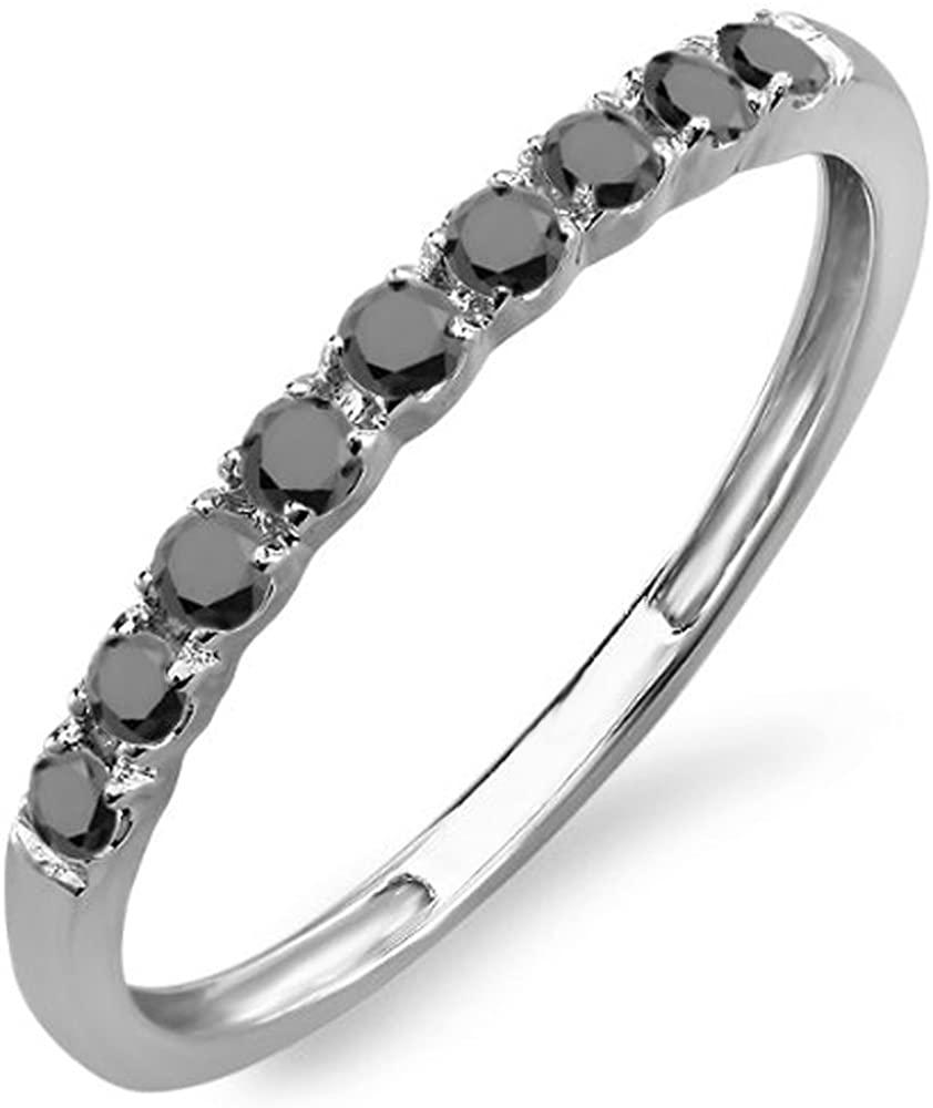 Dazzlingrock Collection 0.25 Carat (ctw) 18k Round Black Diamond Ladies Anniversary Enhancer Guard Band 1/4 CT, White Gold