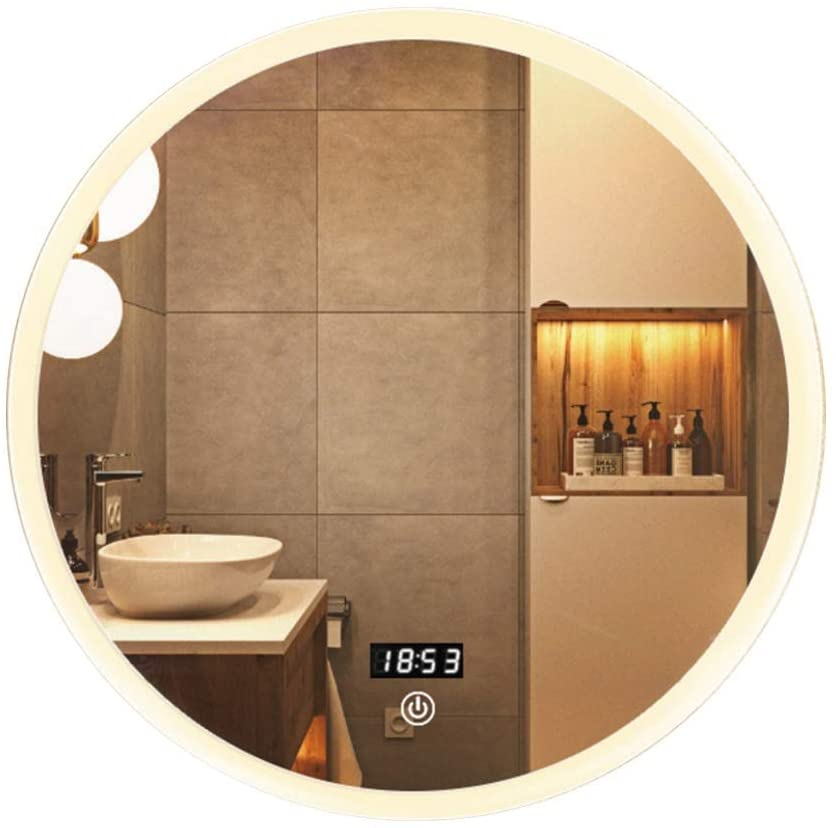 Makeup Mirror Wall Mounted Vanity Mirror with Light,Modern Circle Makeup Mirror with Smart Touch Control Dimmer for Bedroom Bathroom Wall-Mounted Vanity Mirrors