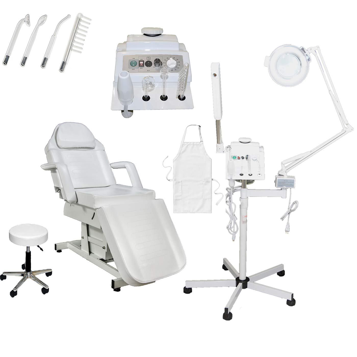 Salon Spa Package 3 in 1 Herbal Aromatherapy Facial Steamer, 5x (16 Diopter) Magnifying Lamp, Professional High Frequency Machine Electrical Facial Bed with Technician Stool