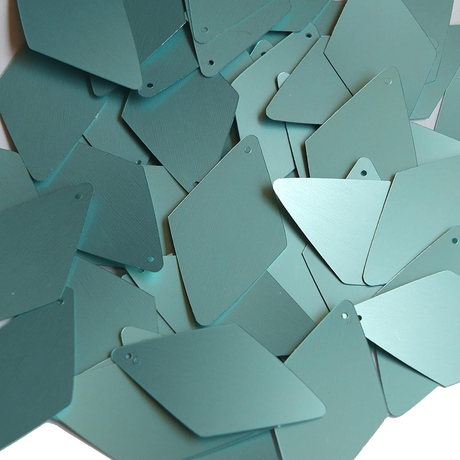 Sequin SeaFoam Green Blue Matte Silk Frost Long Diamond 1.75 inch Couture Loose Paillettes Made in USA.