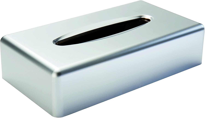 Gerson Rectangular Tissue Box, Matte Chrome, 25,2 x 13,8 x 6,2 cm