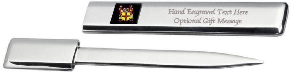 Finn Family Crest Surname Coat Of Arms Heraldry Engraved Letter Opener