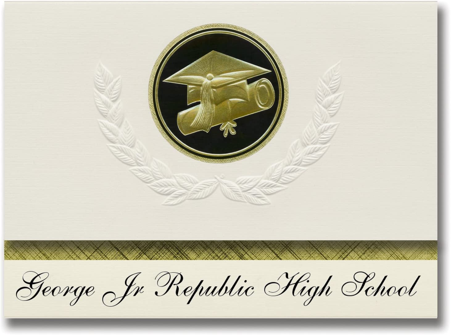 Signature Announcements George Jr Republic High School (Grove City, PA) Graduation Announcements, Presidential style, Elite package of 25 Cap & Diploma Seal Black & Gold