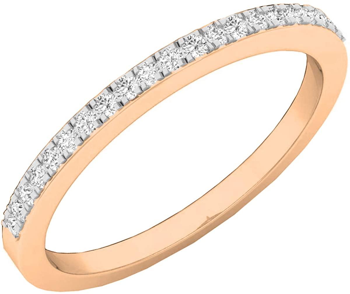 Dazzlingrock Collection 0.14 Carat (ctw) 10K Gold Round White Diamond Ladies Wedding Band Guard Ring