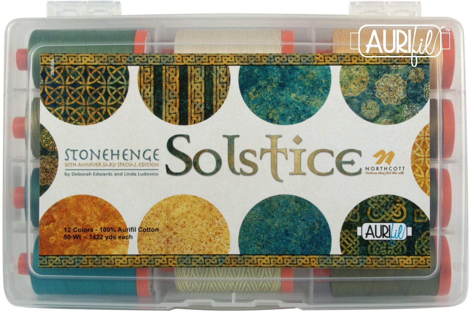 Deborah Edwards Solstice Aurifil Thread Kit 12 Large Spools 50 Weight NF50SC12
