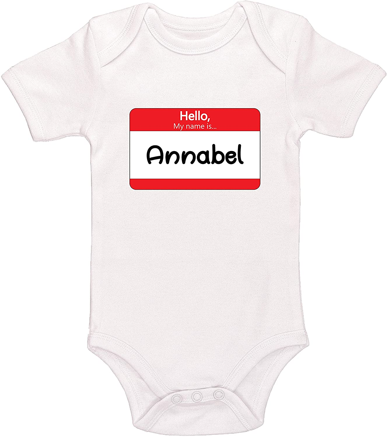Kinacle Hello My Name is Annabel Personalized Baby Bodysuit