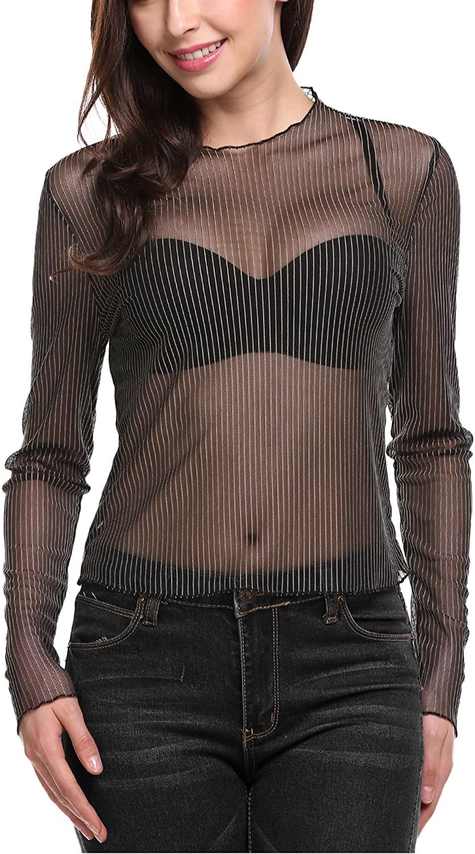 Zeagoo Women Sexy See Through Sheer Striped Long Sleeve T Shirt Top
