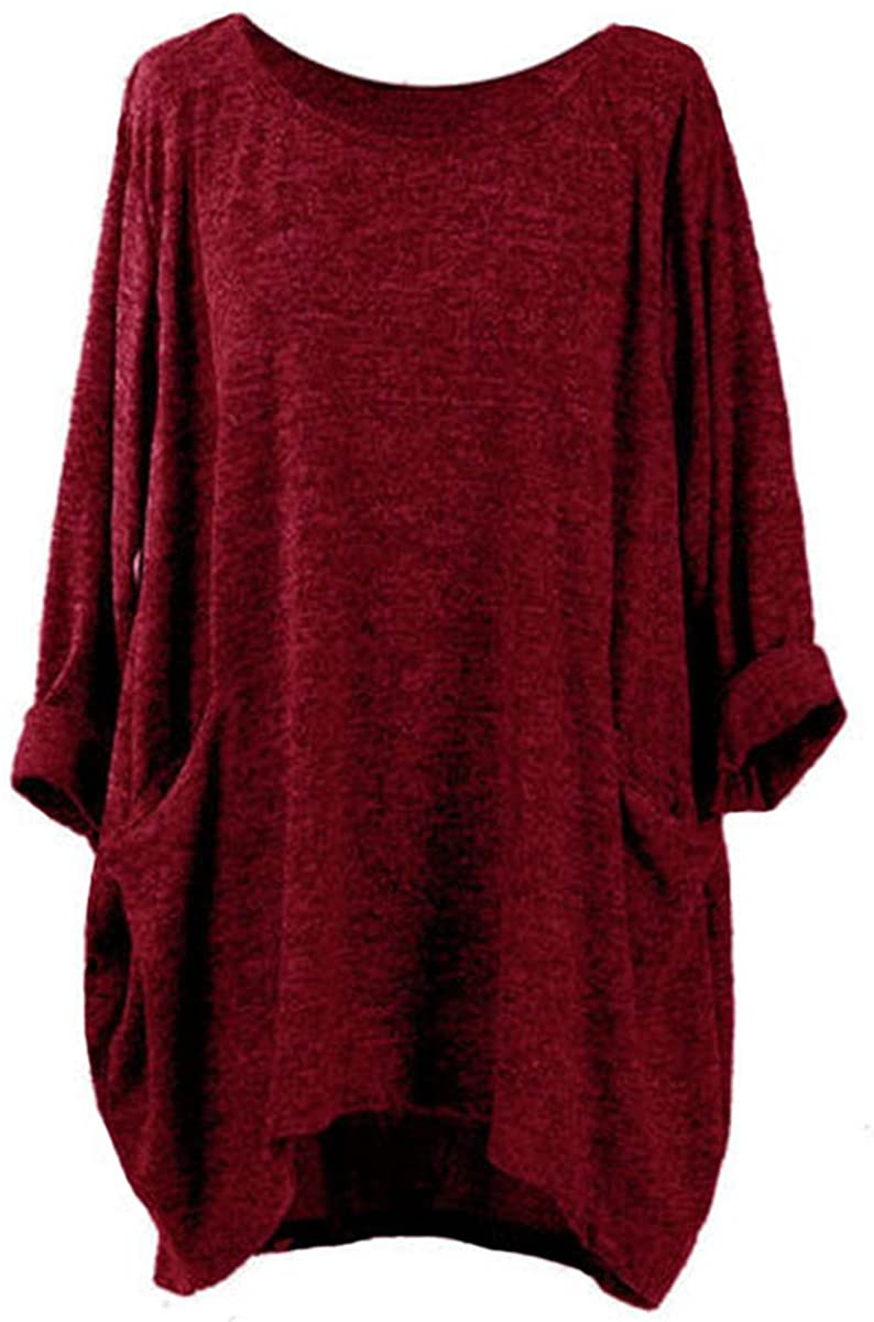 FLORHO Women's Casual Loose Solid Blouse Batwing Sleeve Top with Pockets Asymmetrical Hem Wine Red S