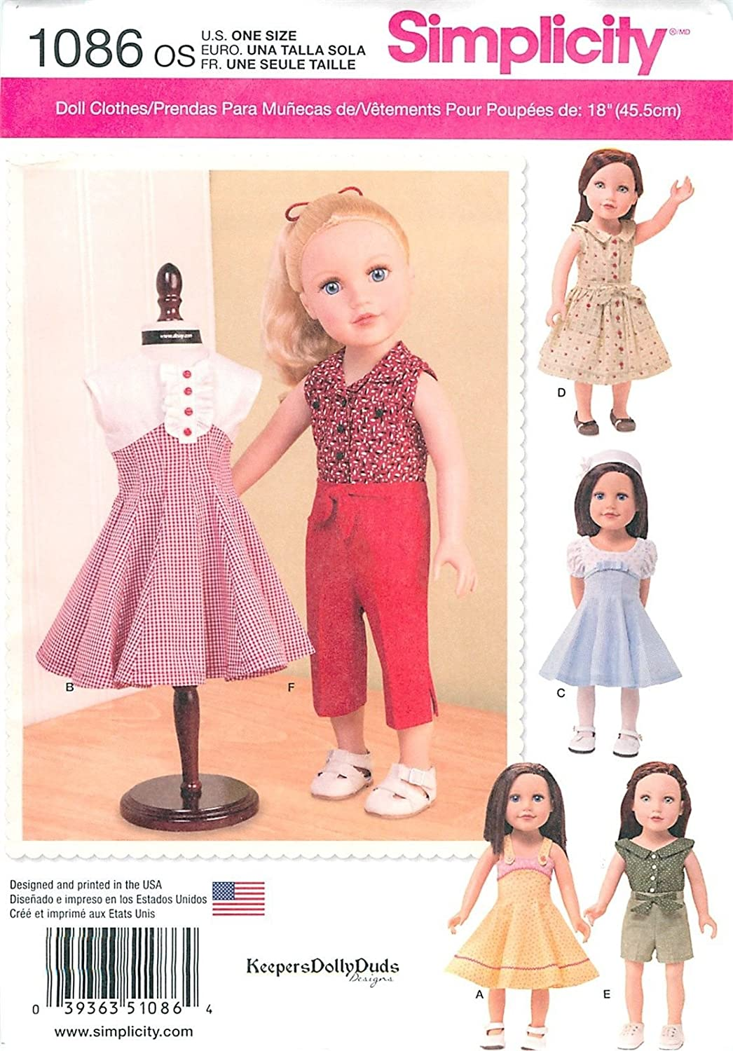 Simplicity 1086 18 inch 45.5cm Girl Doll Clothes Pattern American Seller supplier_paulastreasuredfinds