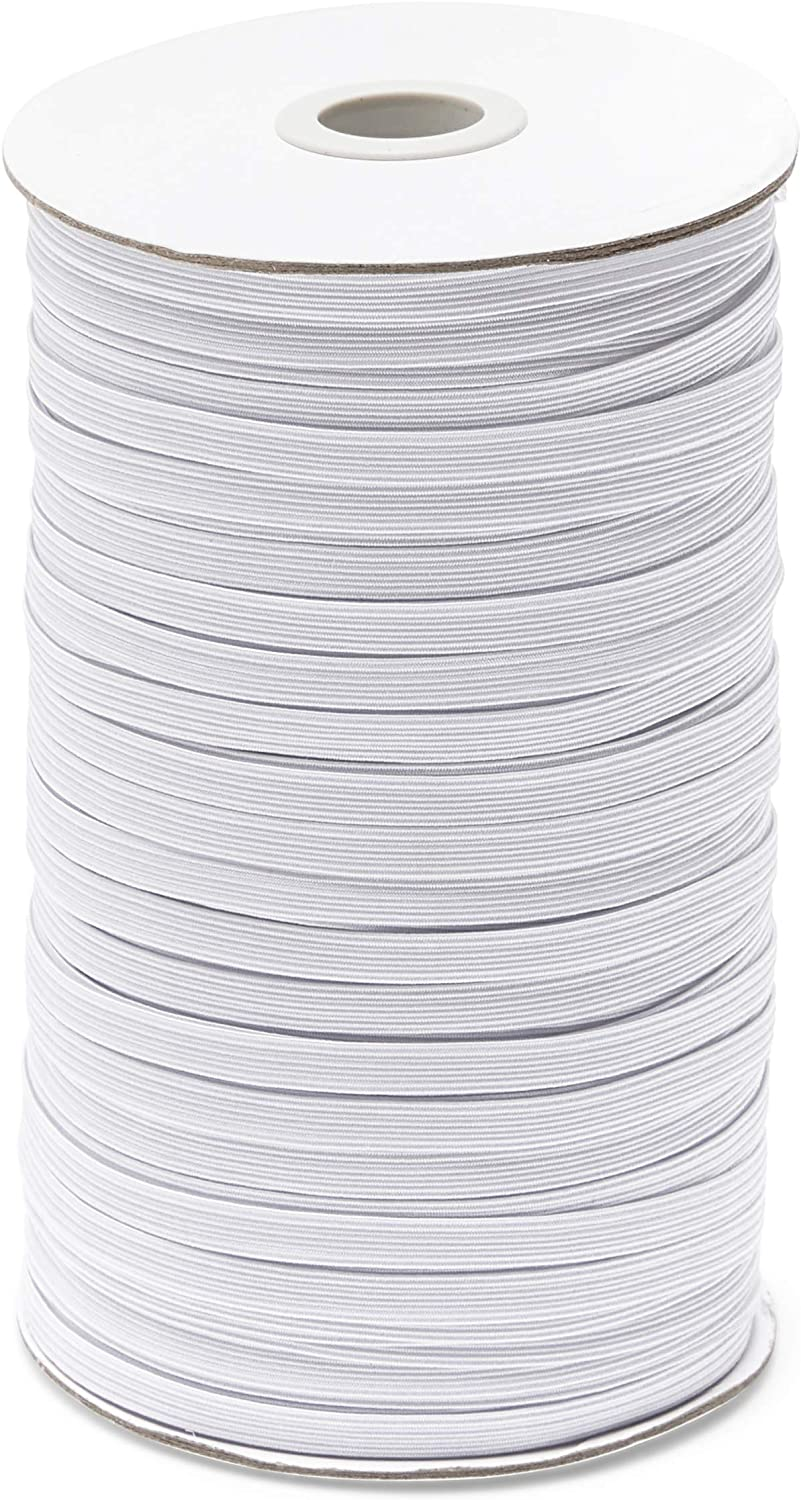 Braided Elastic Band for DIY Crafts, 1/4 Inch Wide (White, 150 Yards)