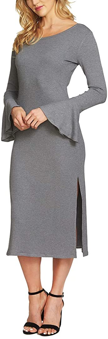1.STATE Womens Ribbed Bell Sleeves Party Dress