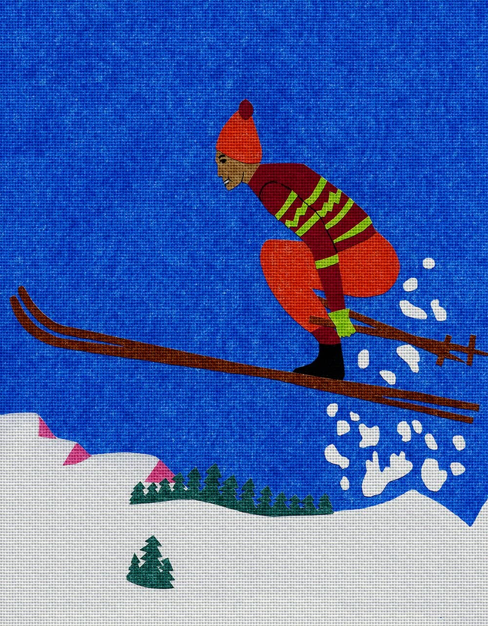 Art Needlepoint Skiing Needlepoint Kit